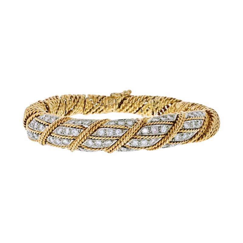 Tiffany Co TIFFANY CO 18K YELLOW GOLD 4 50 CARATS DIAMOND WOVEN ROPES BANGLE BRACELET