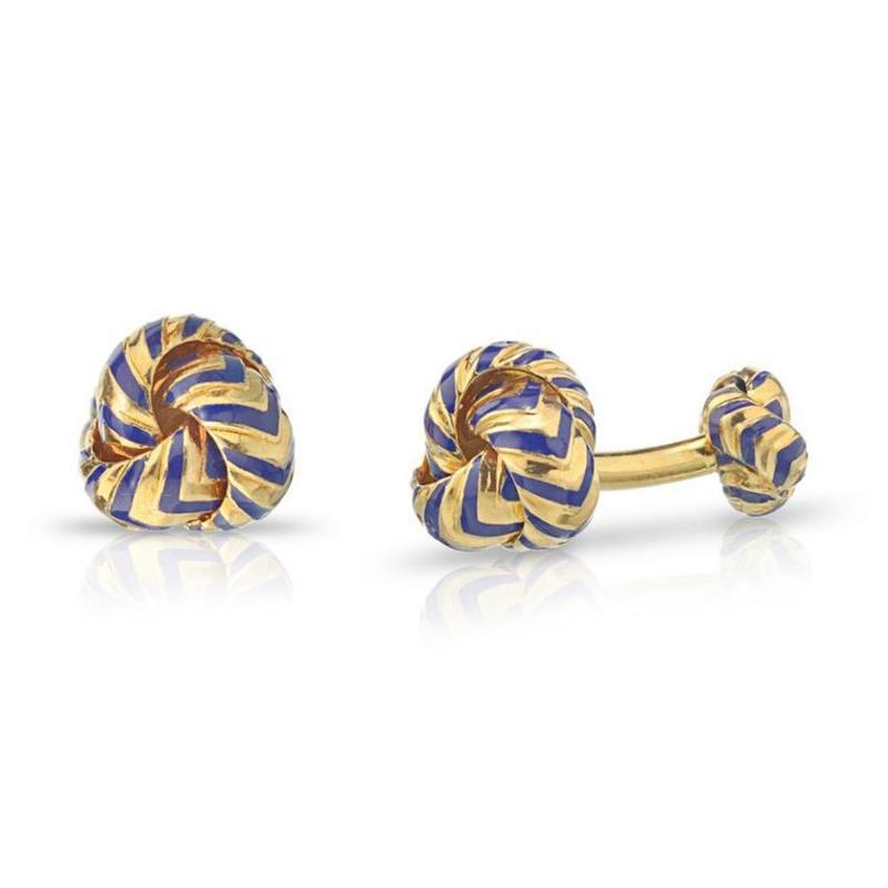 Tiffany Co TIFFANY CO 18K YELLOW GOLD CHEVRON BLUE ENAMEL KNOT CUFF LINKS