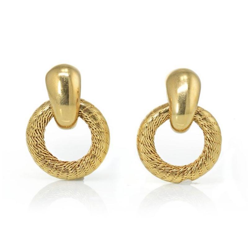 Tiffany Co TIFFANY CO 18K YELLOW GOLD DOOR KNOCKER VINTAGE EARRINGS