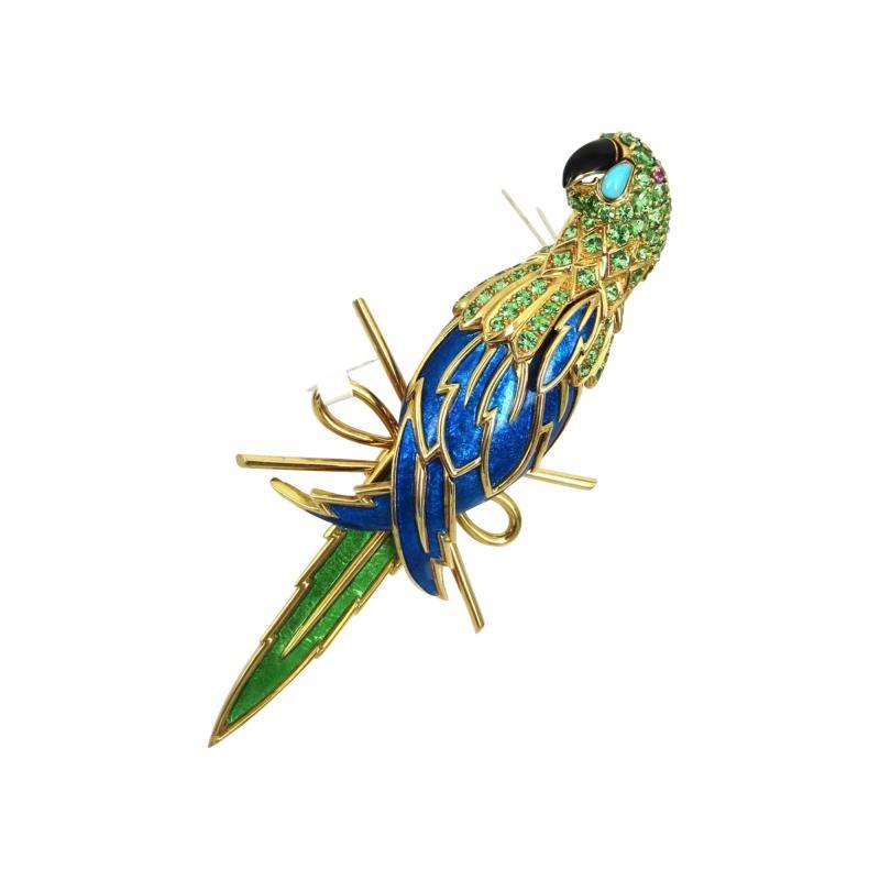 Tiffany Co TIFFANY CO 18K YELLOW GOLD PERIDOT AND BLUE ENAMEL PARROT BROOCH