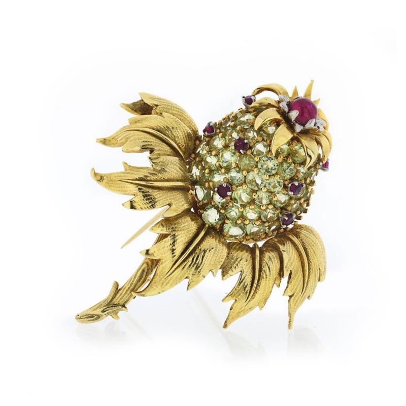 Tiffany Co TIFFANY CO 18K YELLOW GOLD PERIDOT AND RUBY THISTLE CLIP BROOCH