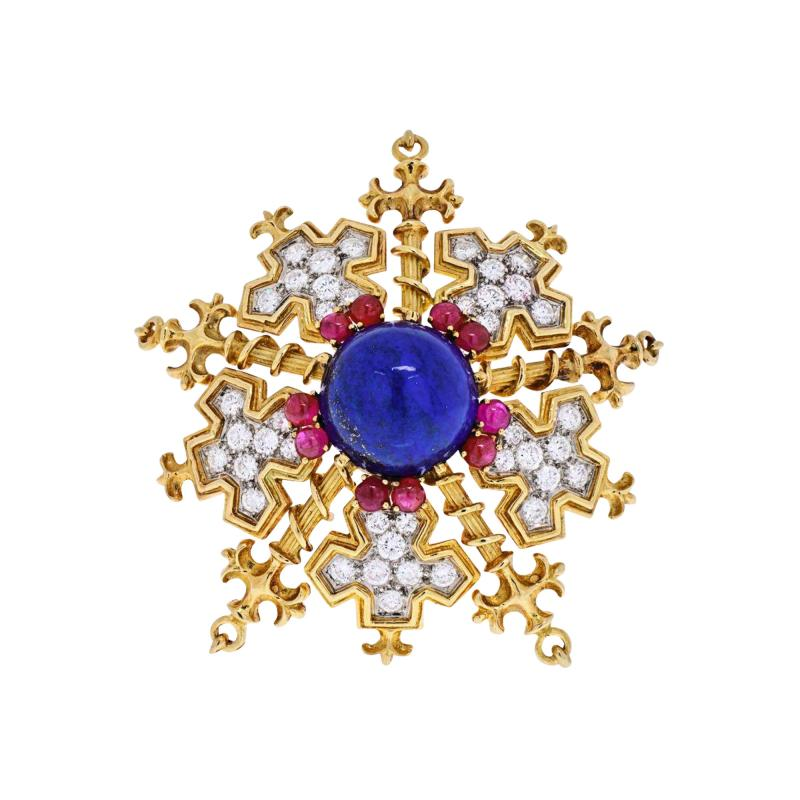 Tiffany Co TIFFANY CO 18K YELLOW GOLD SNOWFLAKE WITH LAPIS RUBIES AND DIAMONDS BROOCH