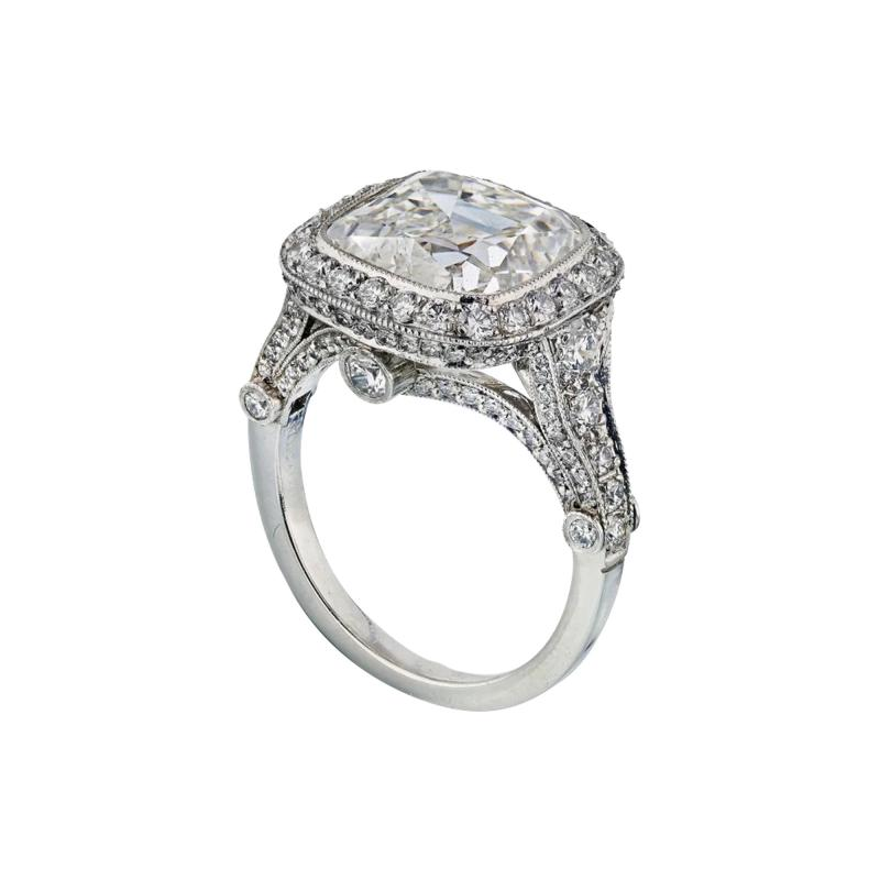 Tiffany Co TIFFANY CO LEGACY 5 CARAT CUSHION CUT DIAMOND E VS2 T CO CERTIFICATED RING