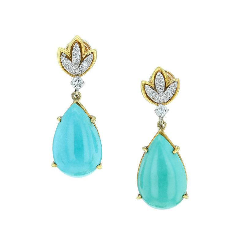 Tiffany Co TIFFANY CO PEAR SHAPE TURQUOISE AND DIAMOND EARRINGS