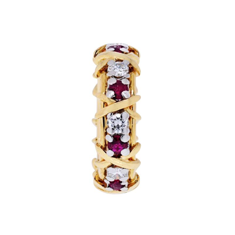 Tiffany Co TIFFANY CO PLATINUM 18K YELLOW GOLD 16 STONE SCHLUMBERGER RUBY DIAMOND RING