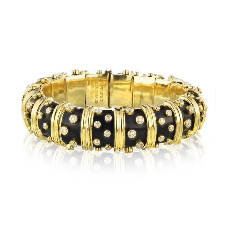 Tiffany Co TIFFANY CO PLATINUM 18K YELLOW GOLD BLACK ENAMEL DIAMOND BANGLE BRACELET