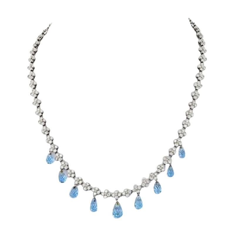 Tiffany Co TIFFANY CO PLATINUM DIAMOND AND AQUAMARINE LACE NECKLACE
