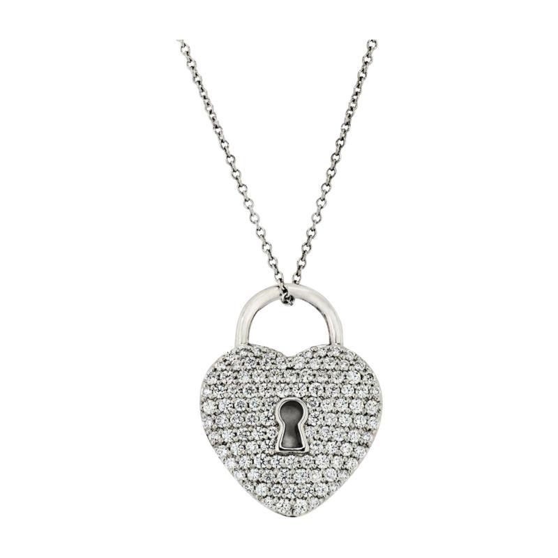Tiffany Co TIFFANY CO PLATINUM PAVE DIAMOND HEART PENDANT