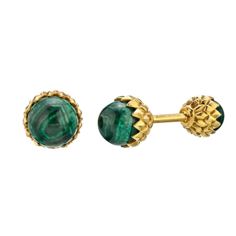 Tiffany Co TIFFANY CO SCHLUMBERGER 18K YELLOW GOLD ACORN GREEN MALACHITE CUFF LINKS