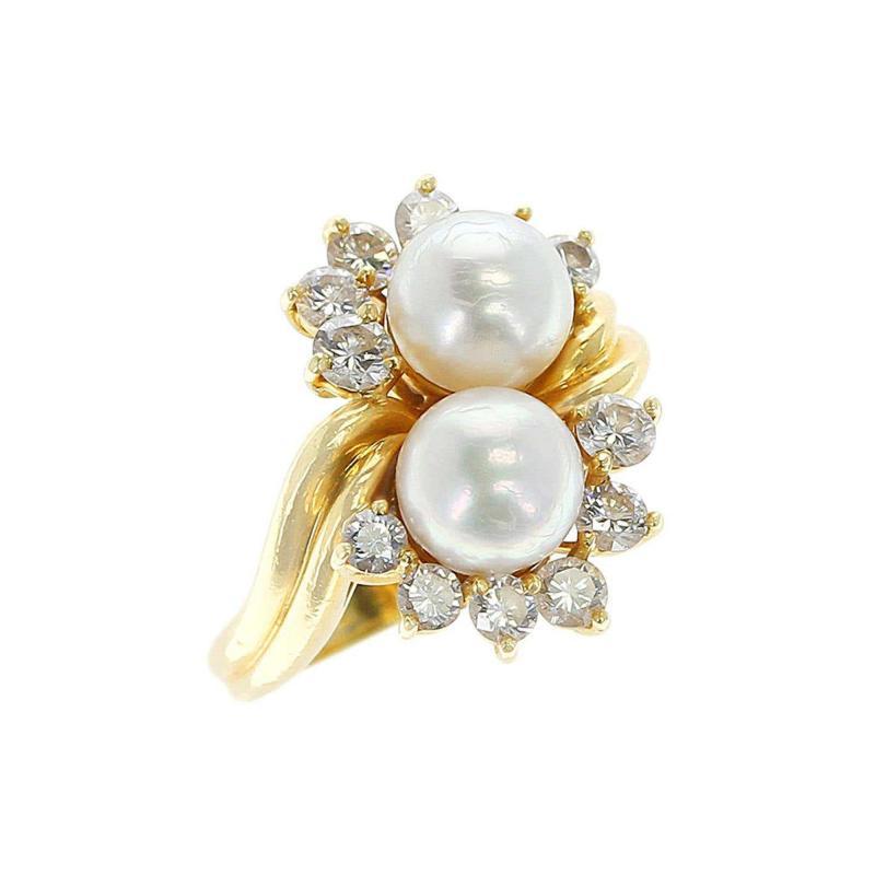 Tiffany Co Tiffany Co Double Pearl Ring with Round Diamonds 18 Karat Yellow Gold