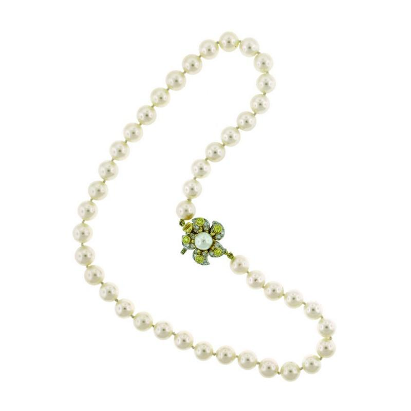 11c229825 Tiffany & Co. Pearl Necklace with Yellow and White Diamond Clasp