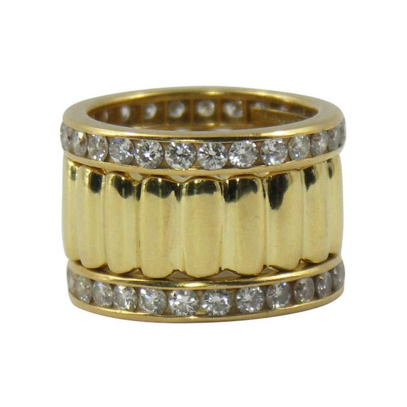 Tiffany Co Tiffany Co Set of Three Diamond and Yellow Gold Eternity Bands