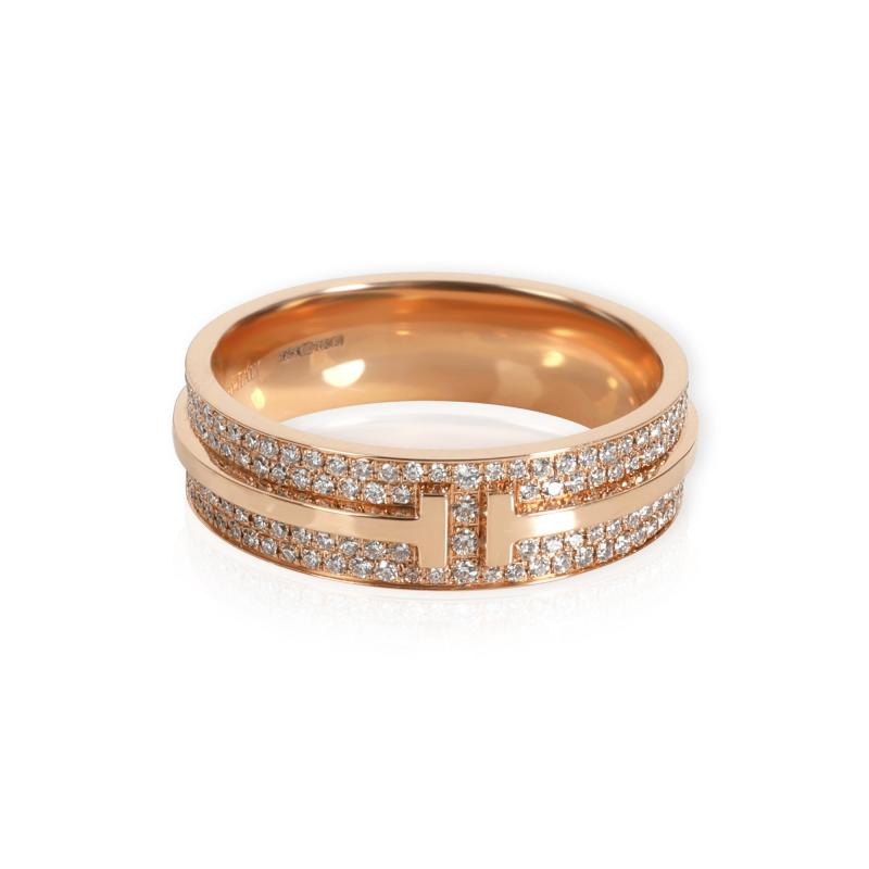 Tiffany Co Tiffany Co T Wide Pave Diamond Ring in 18K Rose Gold 0 61 CTW
