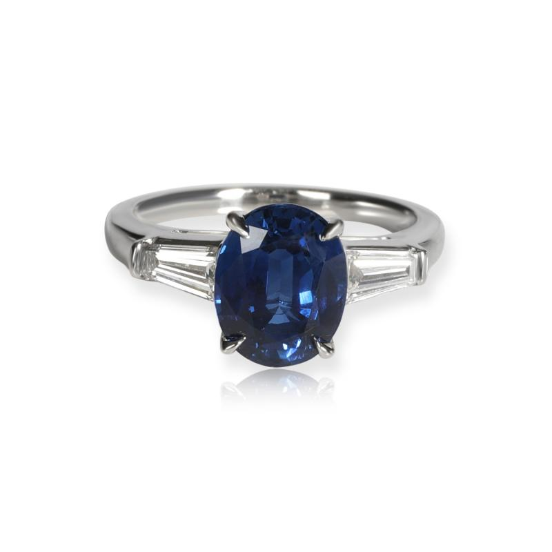 Tiffany Co Tiffany Co Three Stone Sapphire Diamond Ring in Platinum 0 50 CTW
