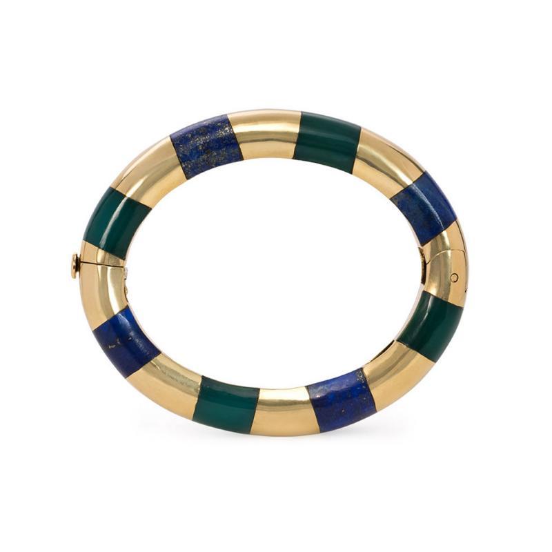 Tiffany Co Tiffany Estate Gold Lapis and Green Onyx Bangle Bracelet