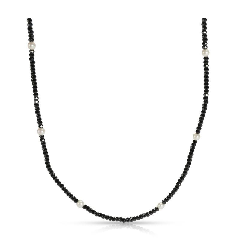 Tiffany Co Tiffany Faceted Black Spinel Freshwater Pearl in Sterling Silver
