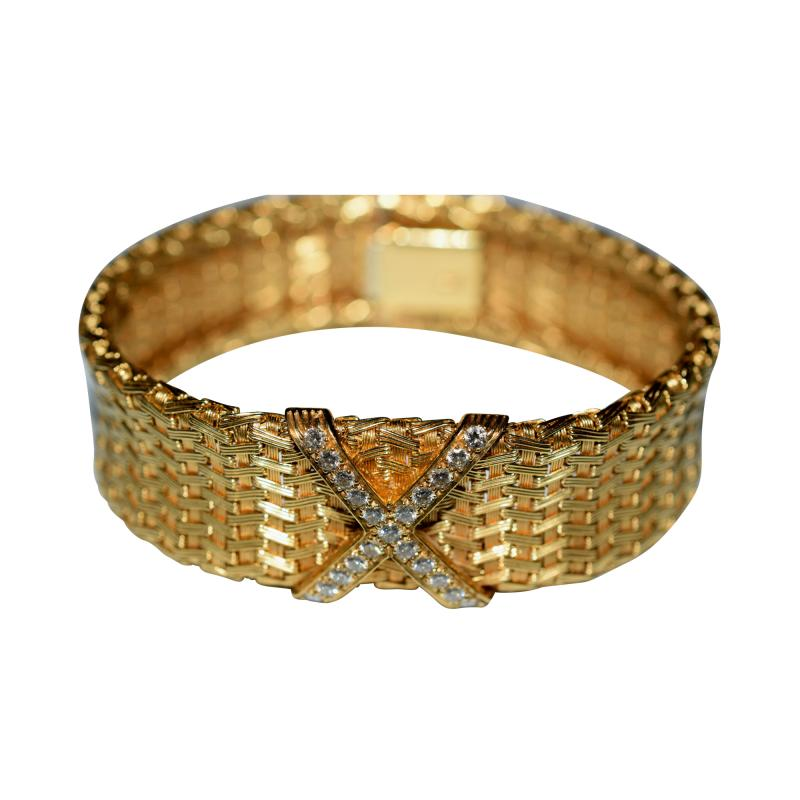Tiffany and Co 18K Gold Tiffany Co Woven X Bracelet