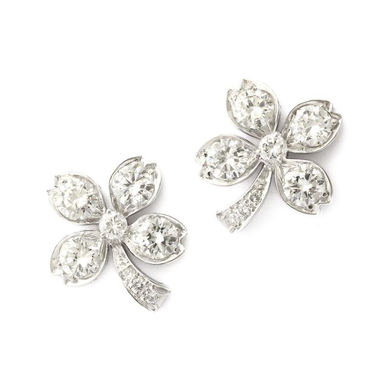 Tiffany and Co Art Deco Diamond Four leaf Clover Earrings by Tiffany Co