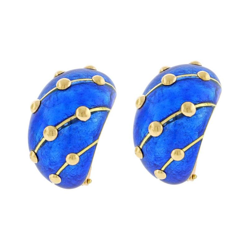 Tiffany and Co Jean Schlumberger for Tiffany Co Cobalt Blue Enamel Banana Earrings