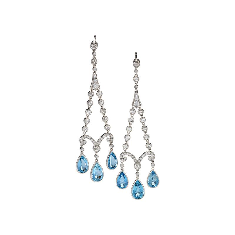 Tiffany and Co Tiffany Co Earrings with Aquamarine and Diamond