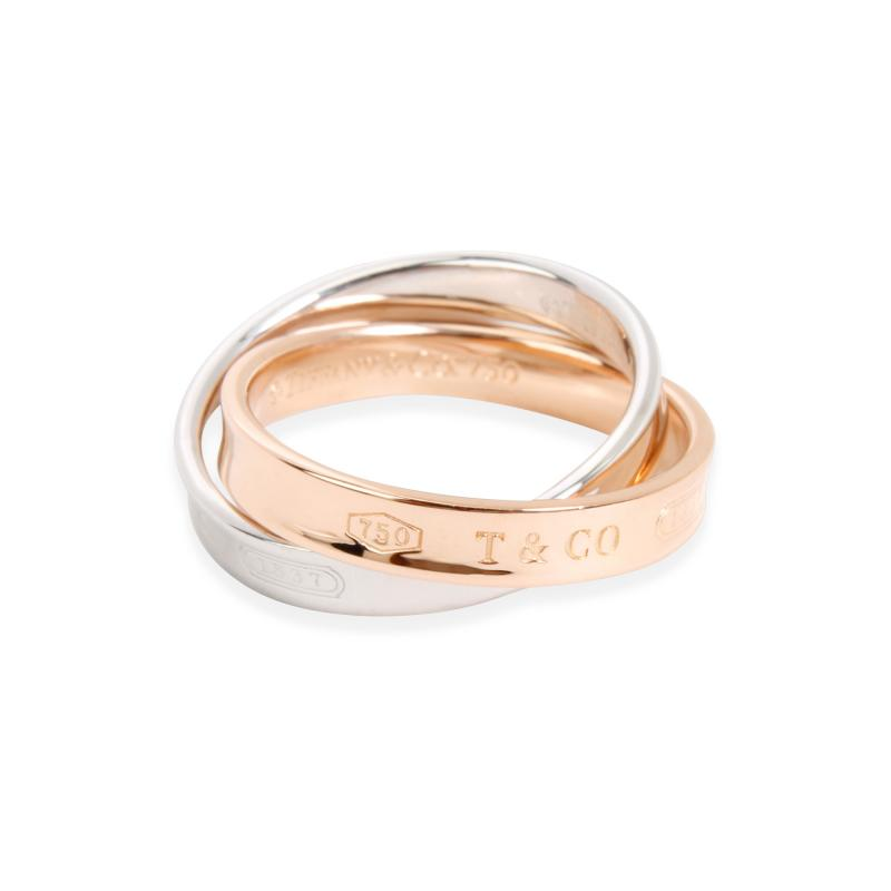 Tiffany and Co Tiffany Co Interlocking Circles Ring in 18K Rose Gold Sterling Silver