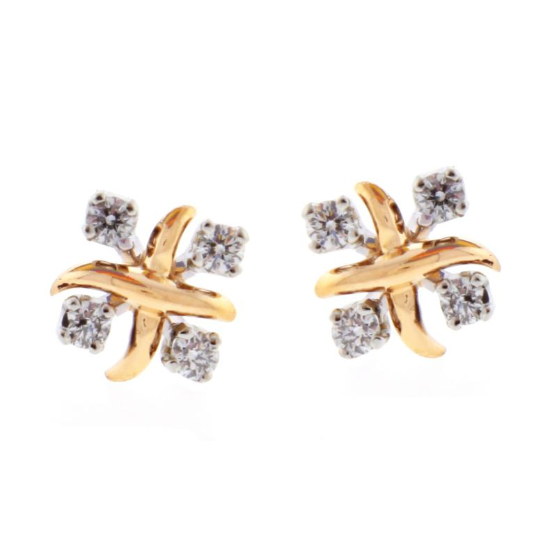 Tiffany and Co Tiffany Co Jean Schlumberger Lynn Diamond Pink Gold Platinum Earrings