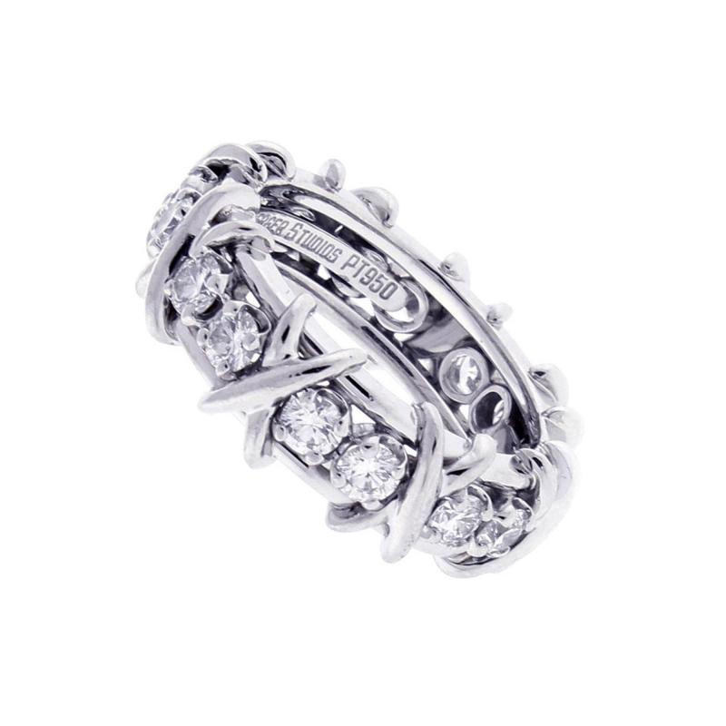 Tiffany and Co Tiffany Co Schlumberger 16 Stone Diamond Platinum X Ring