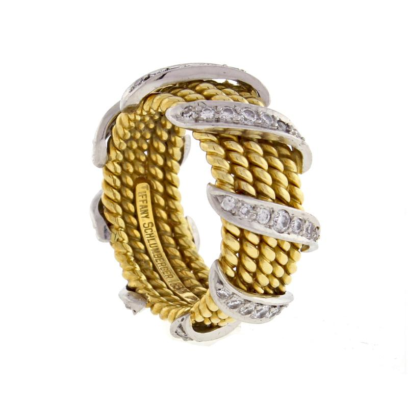 Tiffany and Co Tiffany Co Schlumberger Five Row Diamond Gold Wrap Band Ring