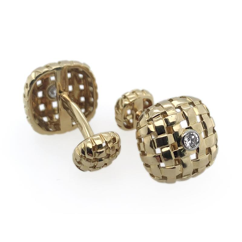 Tiffany and Co Tiffany Co Woven 18k Cufflinks with Diamond Center