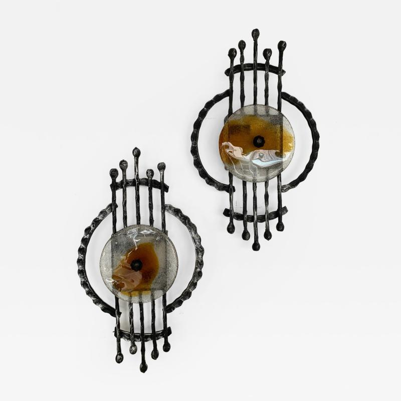 Tom Ahlstr m Hans Ehrich Pair of Brutalist Sconces Iron Murano Glass by Ahlstrom and Ehrich 1970s