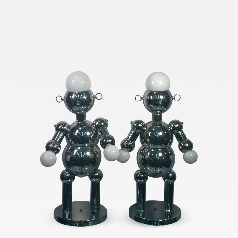 Torino Lamp Co GREAT PAIR OF MODERNIST CHROME ROBOT LAMPS BY TORINO