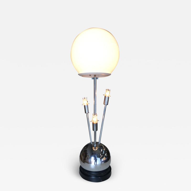 Torino Lamp Co Space Age Chrome Ball Table Lamp w Fours lights Attributed to Torino