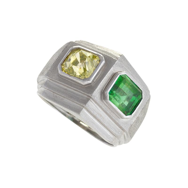 Trabert Hoeffer Mauboussin Trabert Hoeffer Mauboussin Art Deco Yellow Diamond Emerald and Platinum Ring
