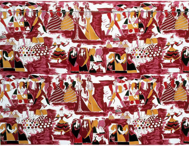 Tre 80 Gio Ponti Designed Balletto alla Scala Fabric by Tre 80 in burgundy