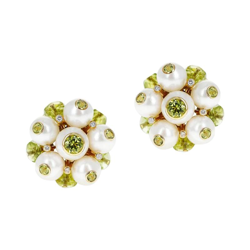 Trianon CULTURED PEARL DIAMOND AND PERIDOT EARRINGS MADE IN 18K GOLD BY TRIANON