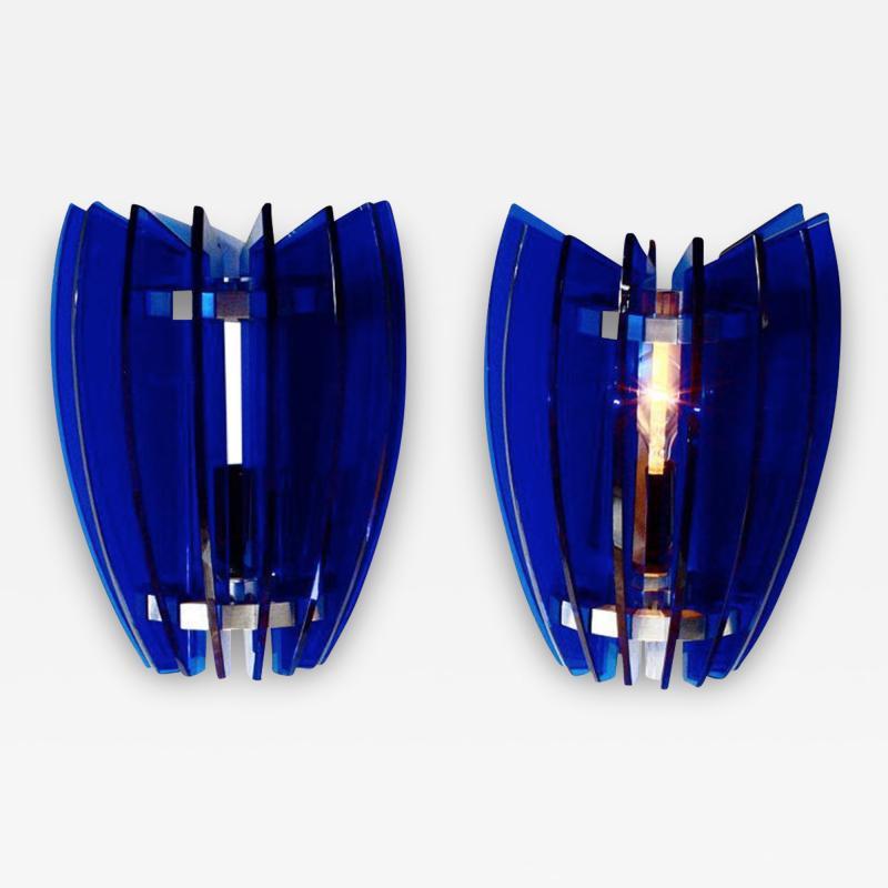 VECA Pair of Sconces by Veca Milano in Cobalt Blue Italy 1970