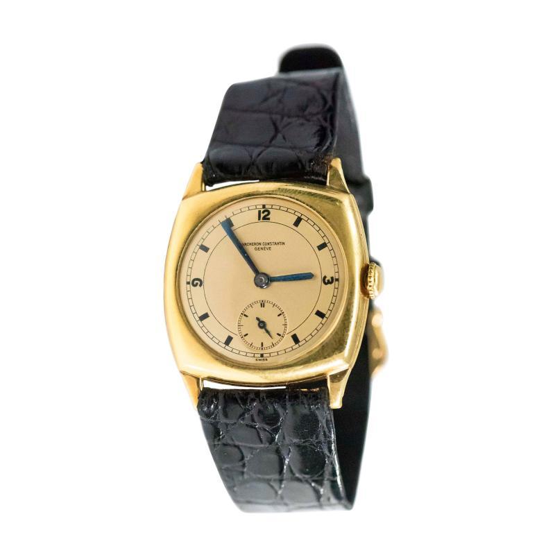 Vacheron Constantin 18 Karat Yellow Gold Vacheron Constantin Sector Dial Officers Cushion Wristwatch