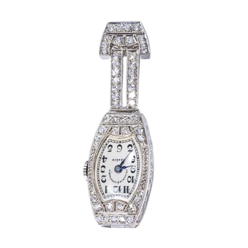 Vacheron Constantin 1920s Platinum Art Deco Vacheron Constantin Diamond Set Lapel or Necklace Watch