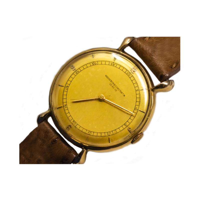 Vacheron Constantin 1940s Vacheron Constantin Lemon Dial 18kt Yg Tear Drop Lugs Wristwatch