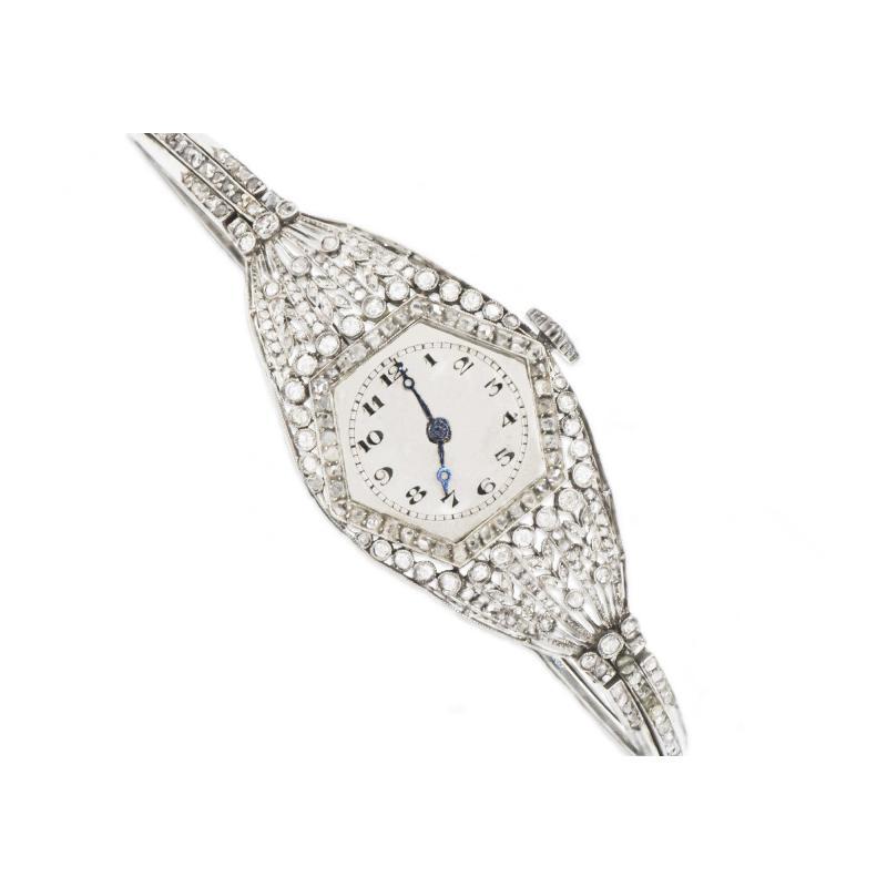 Vacheron Constantin Rare 1900s Vacheron Constantin Lozenge Prototype Platinum Diamond Set Watch