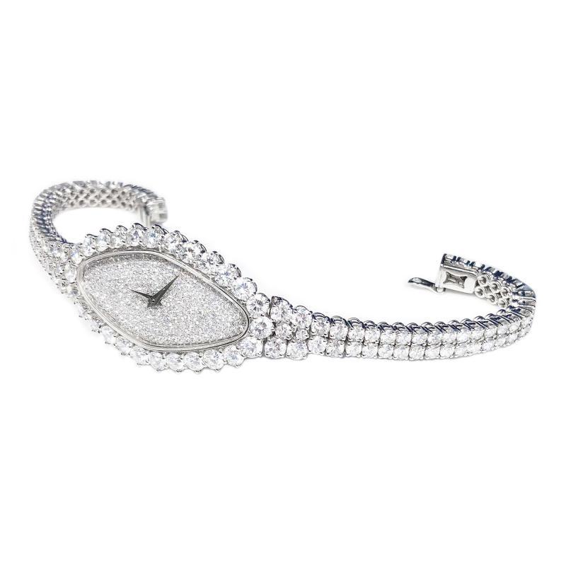 Vacheron Constantin Rare 30carat 42mm Vacheron Constantin White Gold Diamond Lozenge Wristwatch