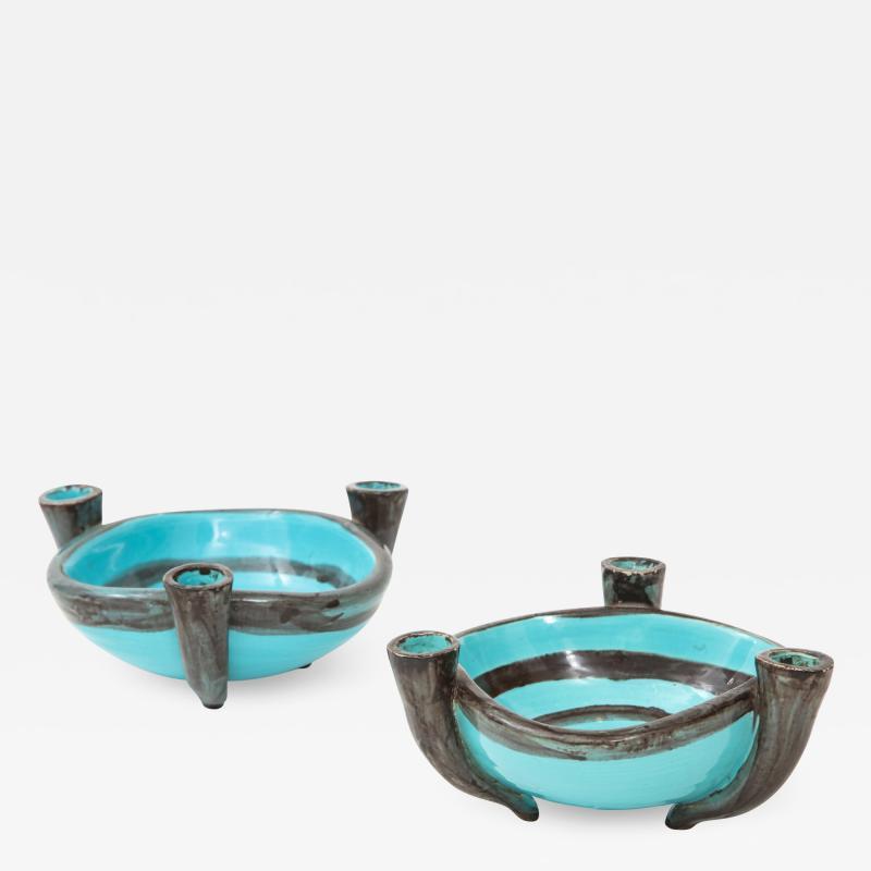 Vallauris Pair of Vallauris Blue Ceramic Candelabra Cups France c 1955