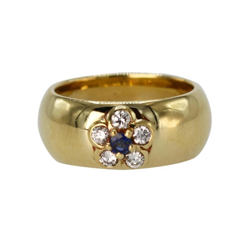 Van Cleef Arpels 18 Karat Gold Sapphire and Diamond Ring by Van Cleef Arpels France