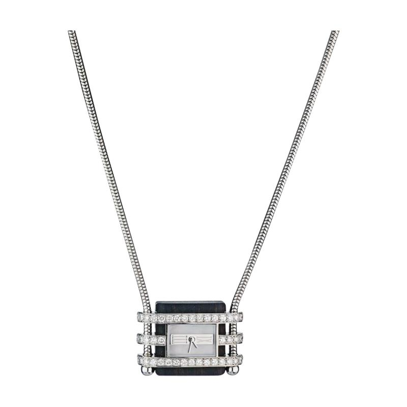 Van Cleef Arpels 18K WHITE GOLD DIAMOND MOTHER OF PEARL AND WOOD PENDANT WATCH