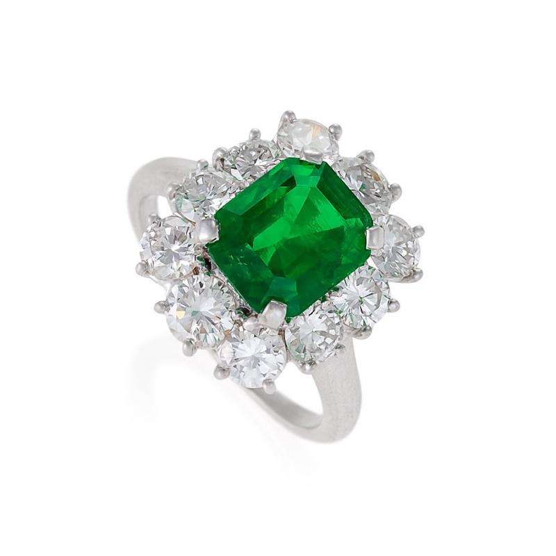 Van Cleef Arpels A Mid 20th Century Platinum Emerald and Diamond Ring