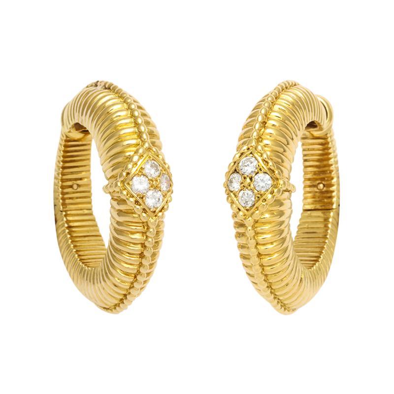 Van Cleef Arpels Gold Diamond Hoop Earrings by Van Cleef Arpels