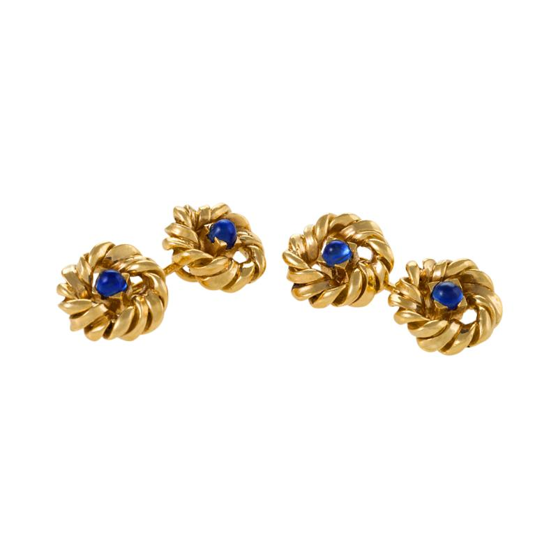 Van Cleef Arpels Mid 20th Century Sapphire and Gold Cuff Links