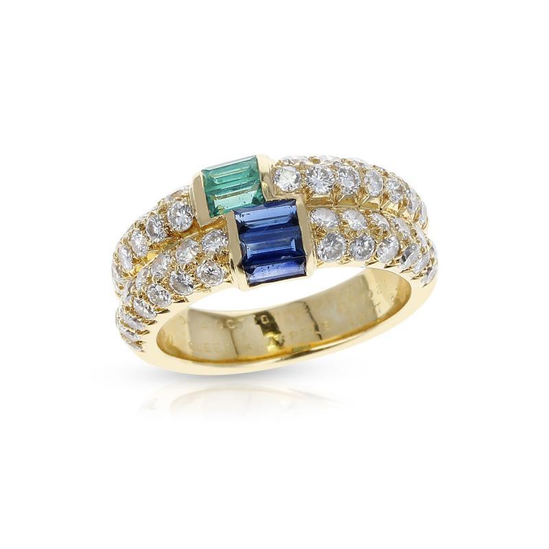 Van Cleef Arpels PARIS VAN CLEEF ARPELS EMERALD AND SAPPHIRE BAGUETTES WITH ROUND DIAMONDS RING