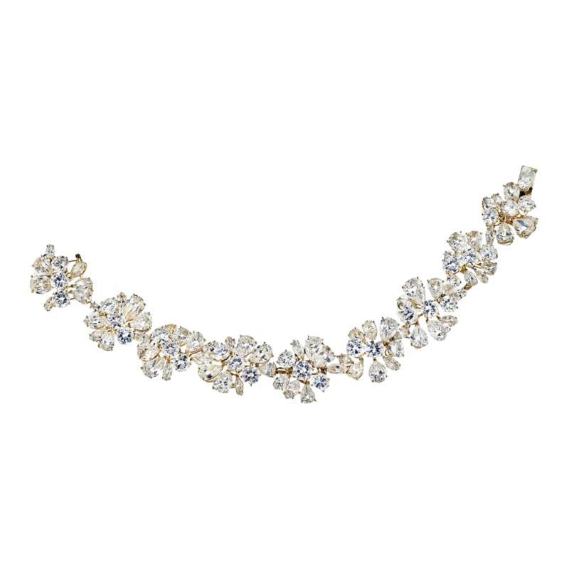 Van Cleef Arpels PLATINUM 18K YELLOW GOLD 47CTTW FANCY SHAPED FLORAL MOTIF DIAMOND BRACELET
