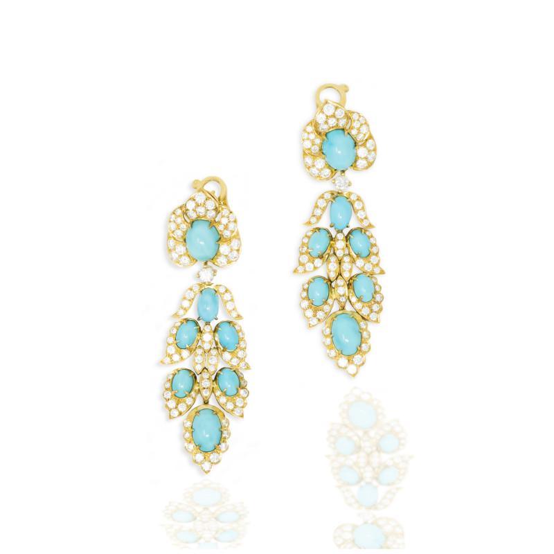 Van Cleef Arpels Rare 1970s Van Cleef Arpels Diamond Set Persian Turquoise Earrings Clips